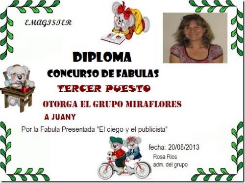 Juany 3º puesto Concurso de Fabulas